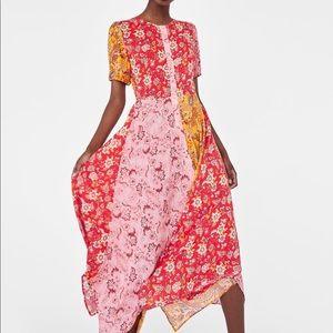 Zara Long Patchwork Print Short Sleeve Dress Large
